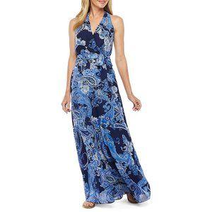 CHETTA B Sleeveless Blue Paisley Maxi Dress Sz 14